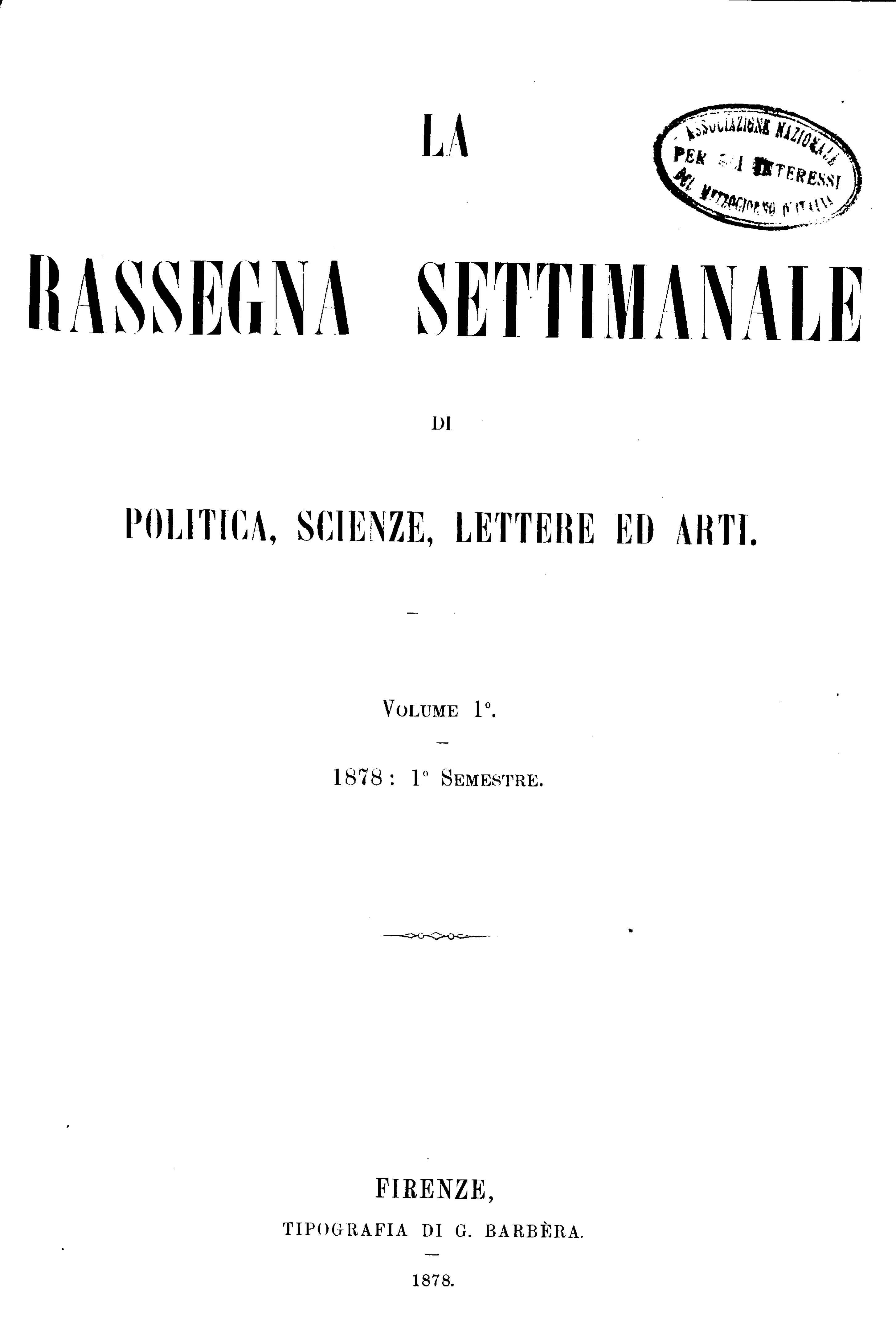 Fascicolo 11 - Volume 1 - 1878 - Semestre 1 - Trimestre 1