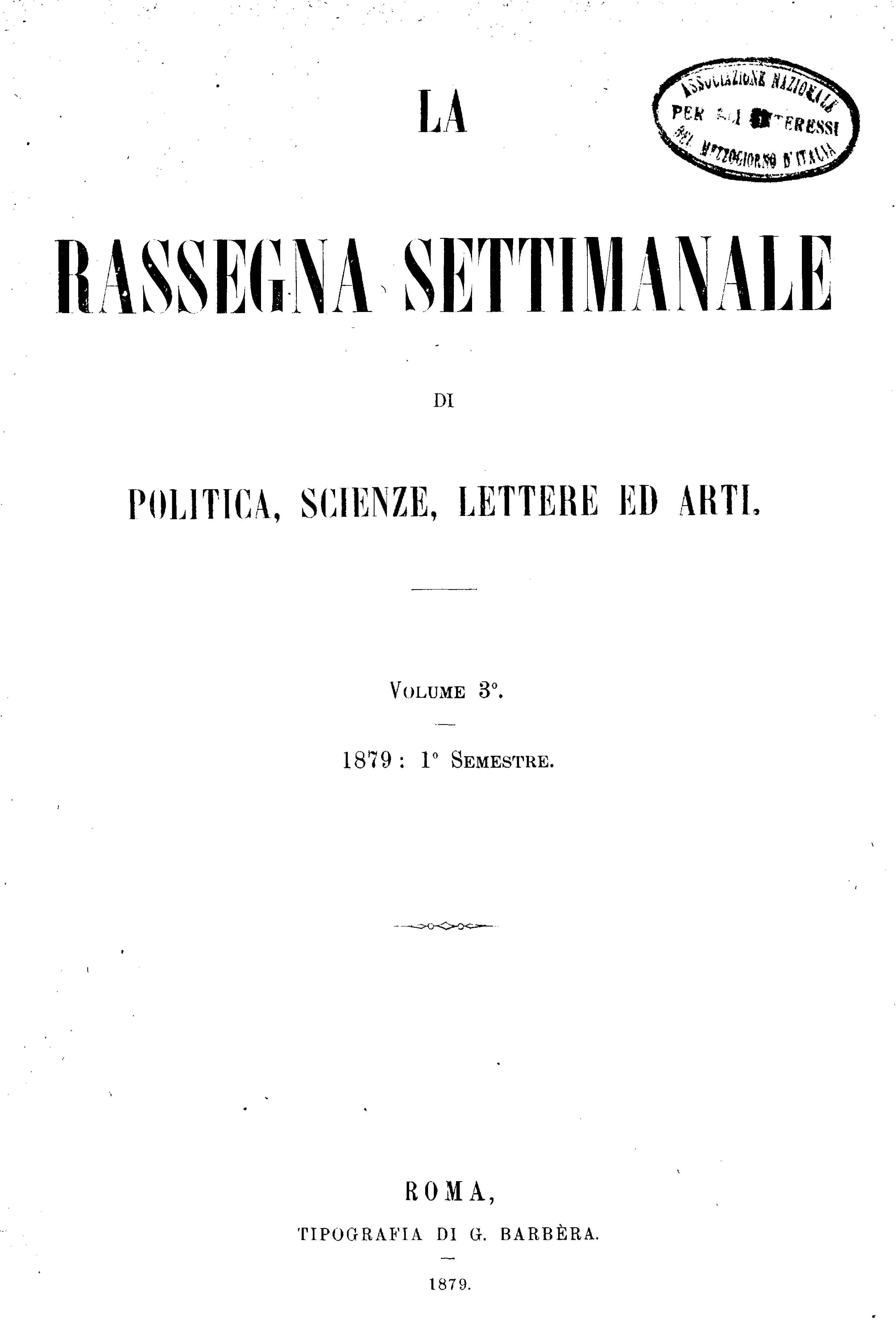 Fascicolo 71 - Volume 3 - 1879 - Semestre 1 - Trimestre 1