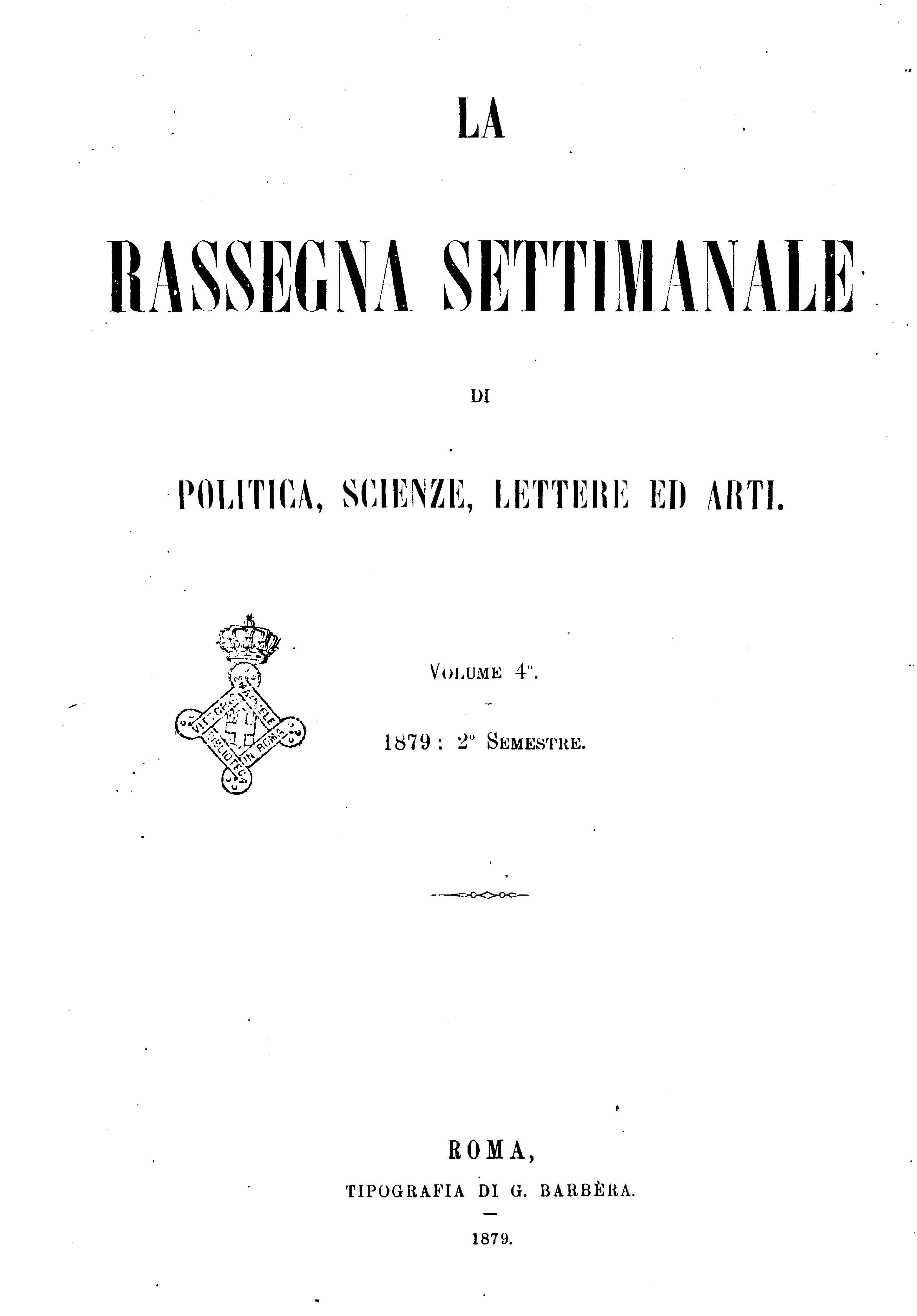 Fascicolo 100 - Volume 4 - 1879 - Semestre 2 - Trimestre 2
