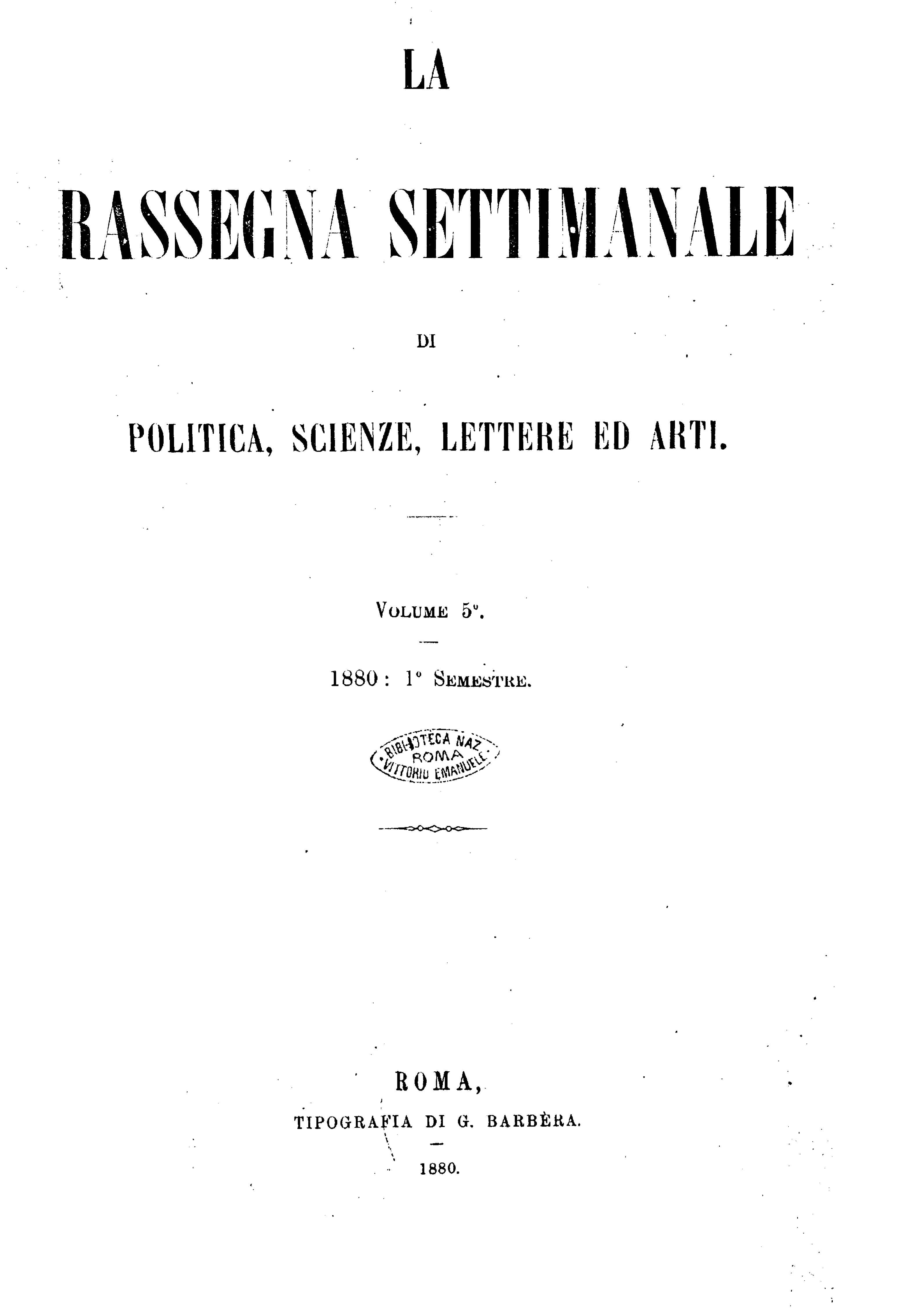 Fascicolo 111 - Volume 5 - 1880 - Semestre 1 - Trimestre 1