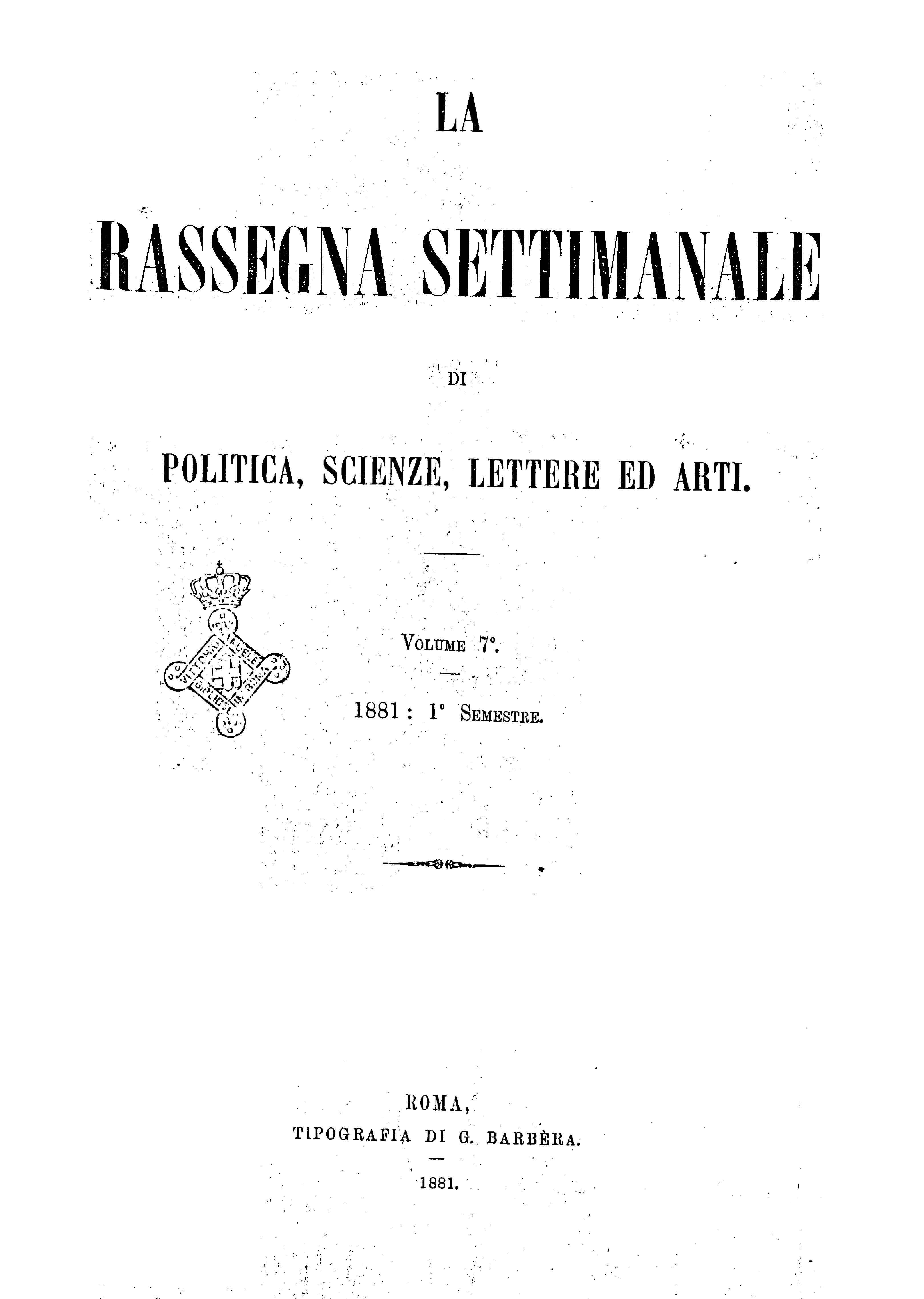Fascicolo 160 - Volume 7 - 1881 - Semestre 1 - Trimestre 1