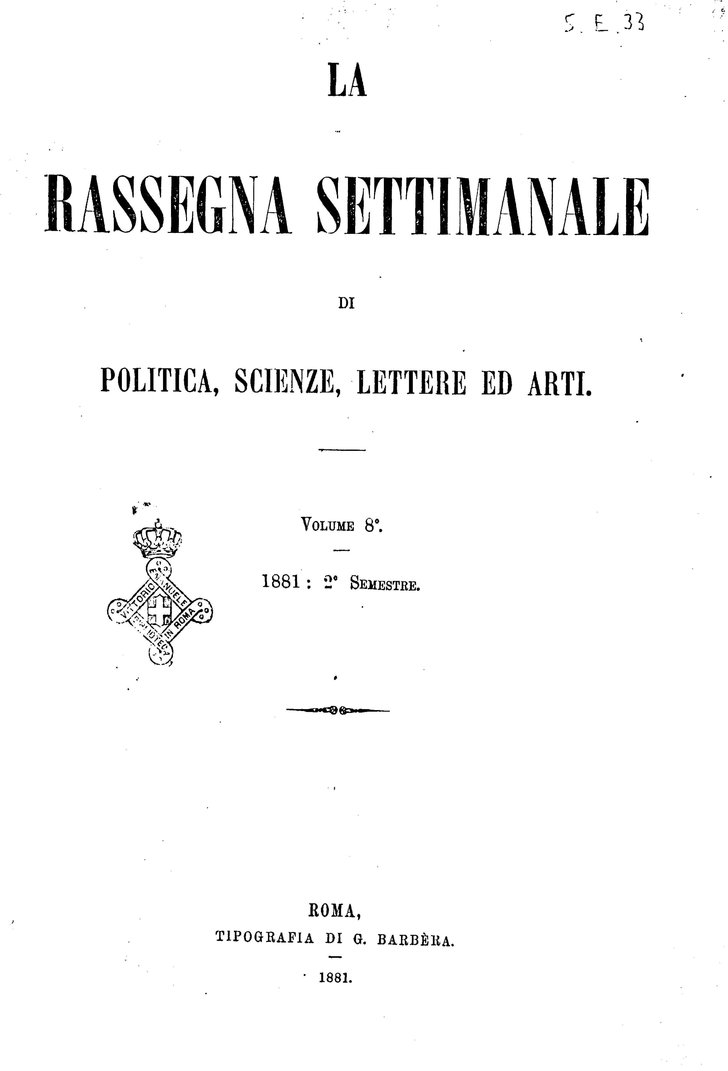 Fascicolo 189 - Volume 8 - 1881 - Semestre 2 - Trimestre 1